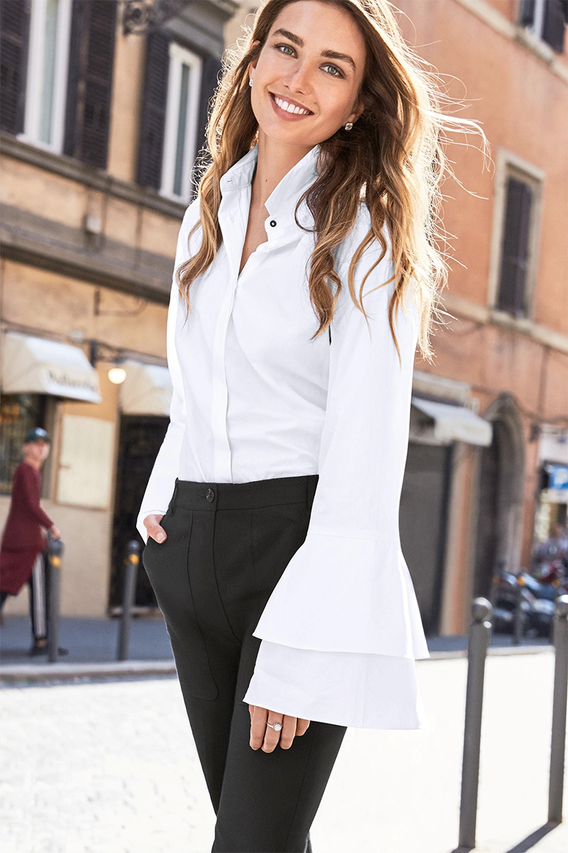 White Fluted Sleeve Shirt