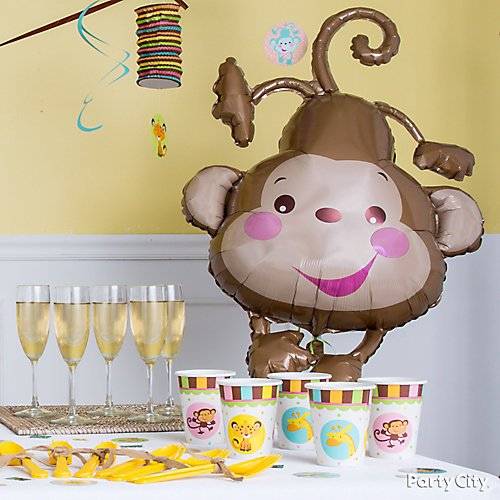 Curated image with Fisher-Price Monkey Baby Shower Balloon, Fisher-Price Jungle Baby Shower Swirl...