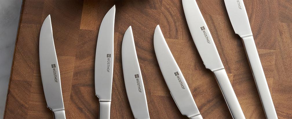 Sharpened stainless steel steak knives