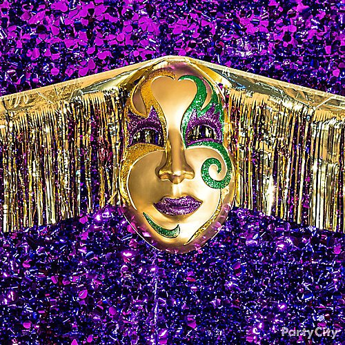 6f63d8e956a Curated image with 3D Gold Mardi Gras Mask Decoration, Purple Metallic  Floral Sheeting, ...
