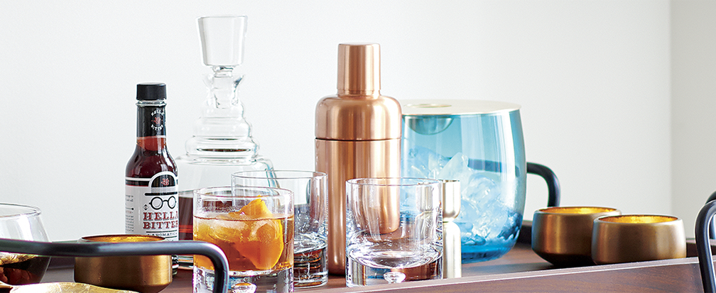 Barware and accessories on a bar cart