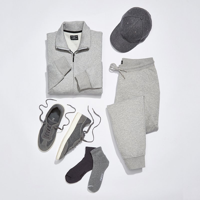 Tonal grey tracksuit and accessories