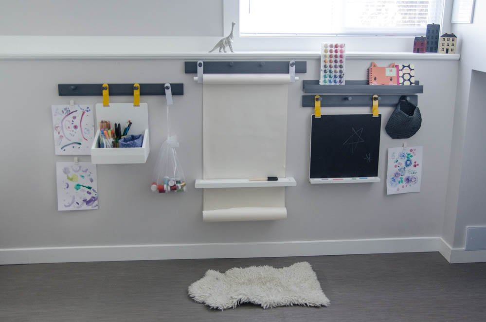 Wall Mounted Art Station for Kids