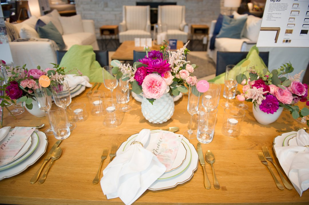 Feminine wedding table ideas at Private Registry Event