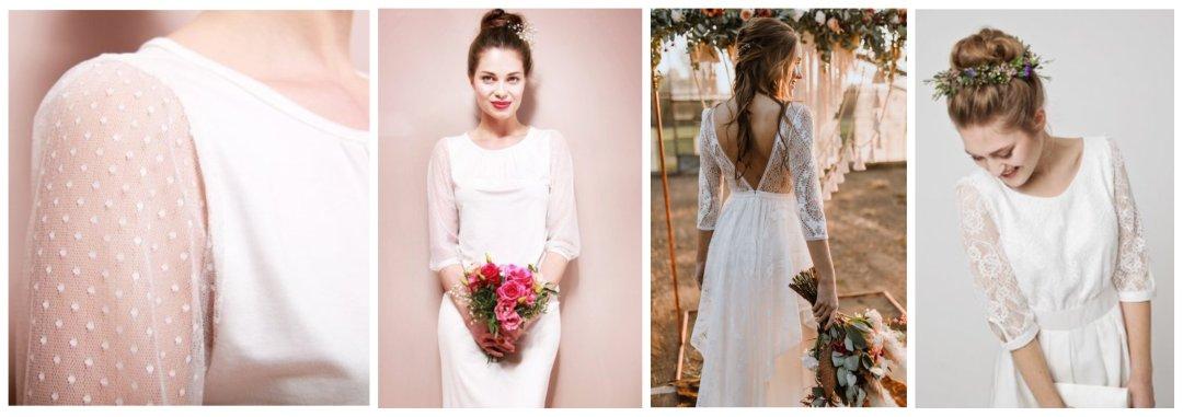 Shop Brautkleid Savannah im Boho-Look, Kurzes Brautkleid Aurélie im Boho Stil, Brautkleid Estelle mit Tüllärmeln and more