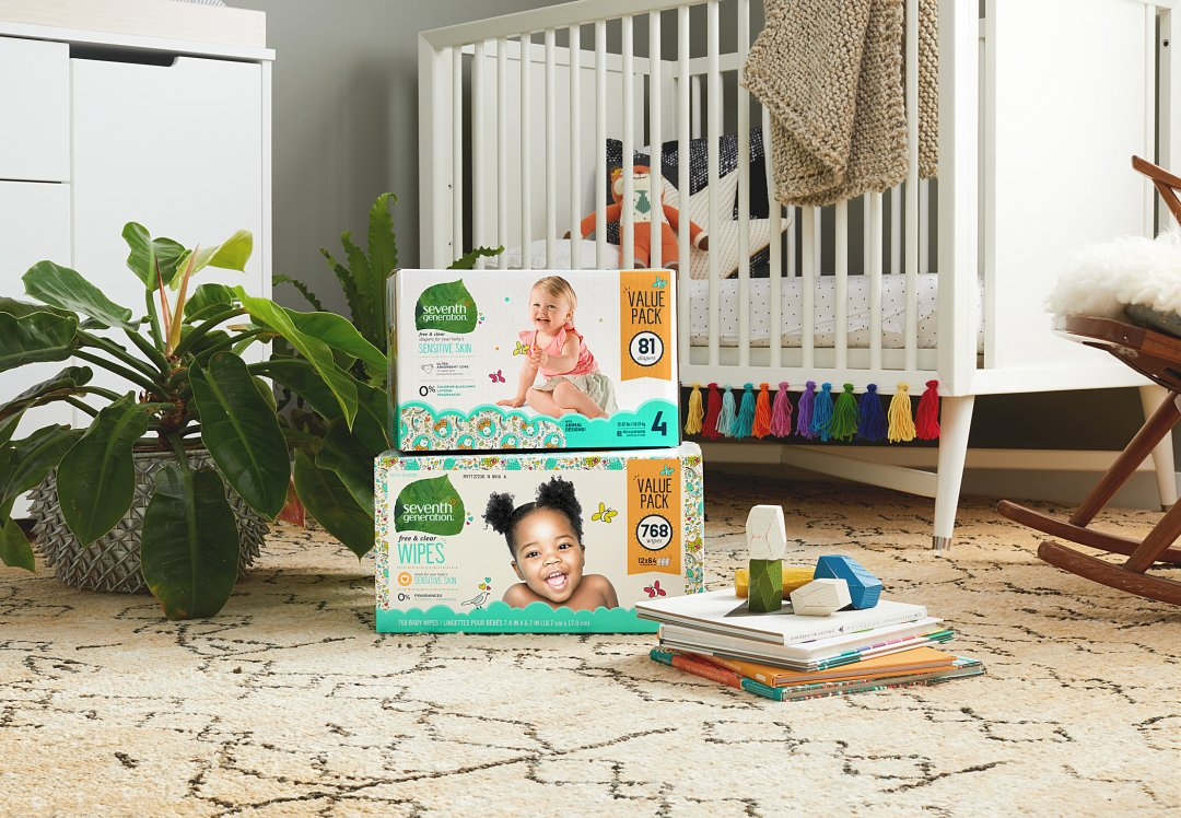 baby diapers in nursery