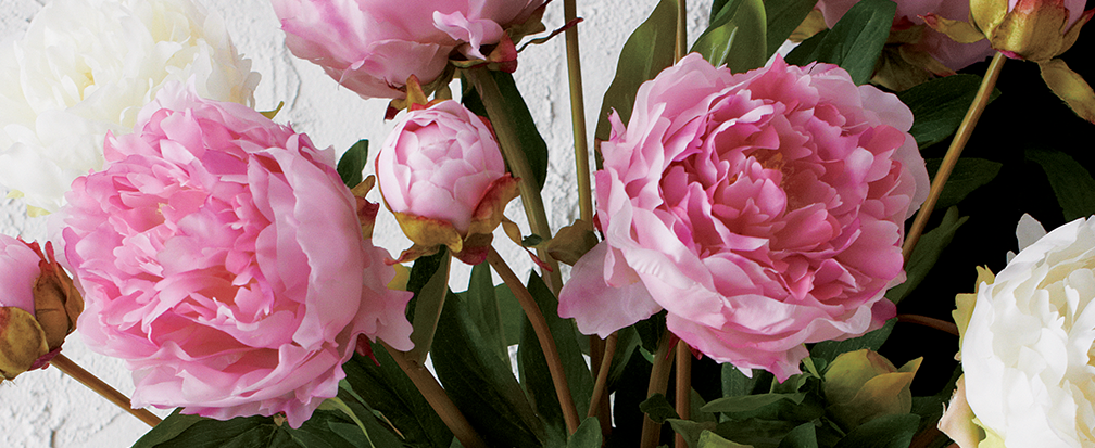 Artificial pink and white peonies