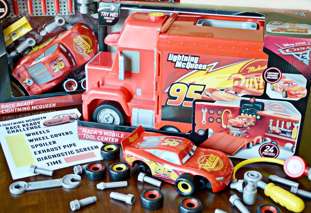 See how quickly you can get Lightning McQueen race ready with a free printable Lightning McQueen Race Ready Challenge Activity paired with Cars 3 toys!