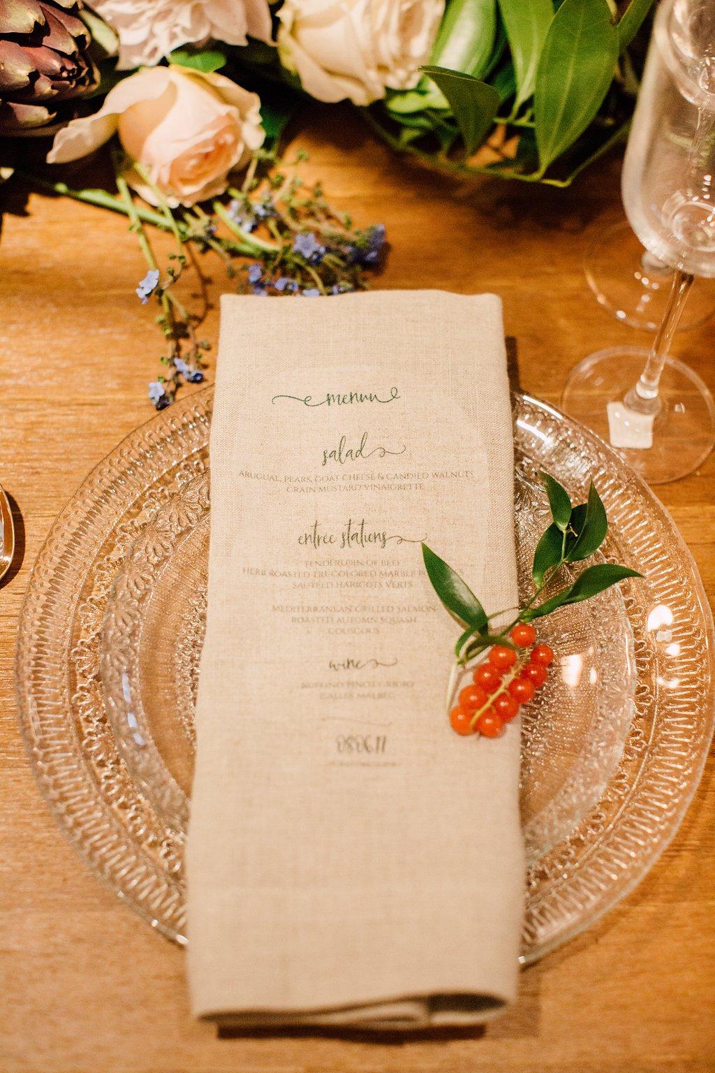 Glass plate with menu on napkin