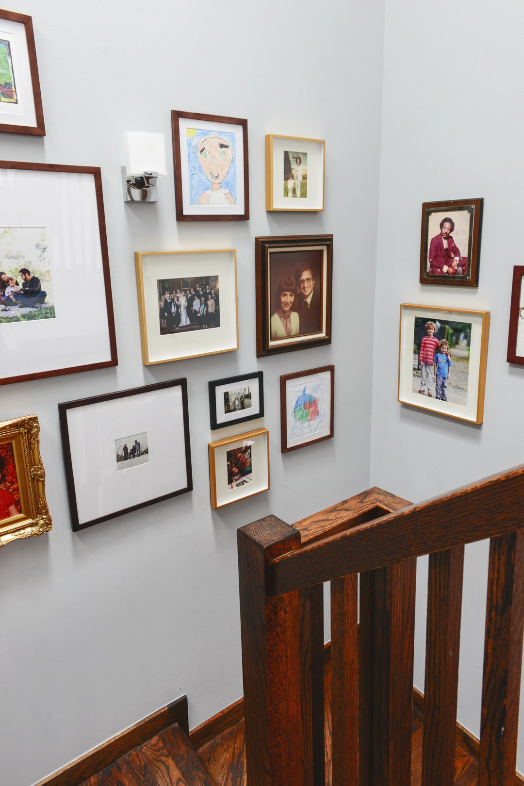 Photos displayed on photo wall