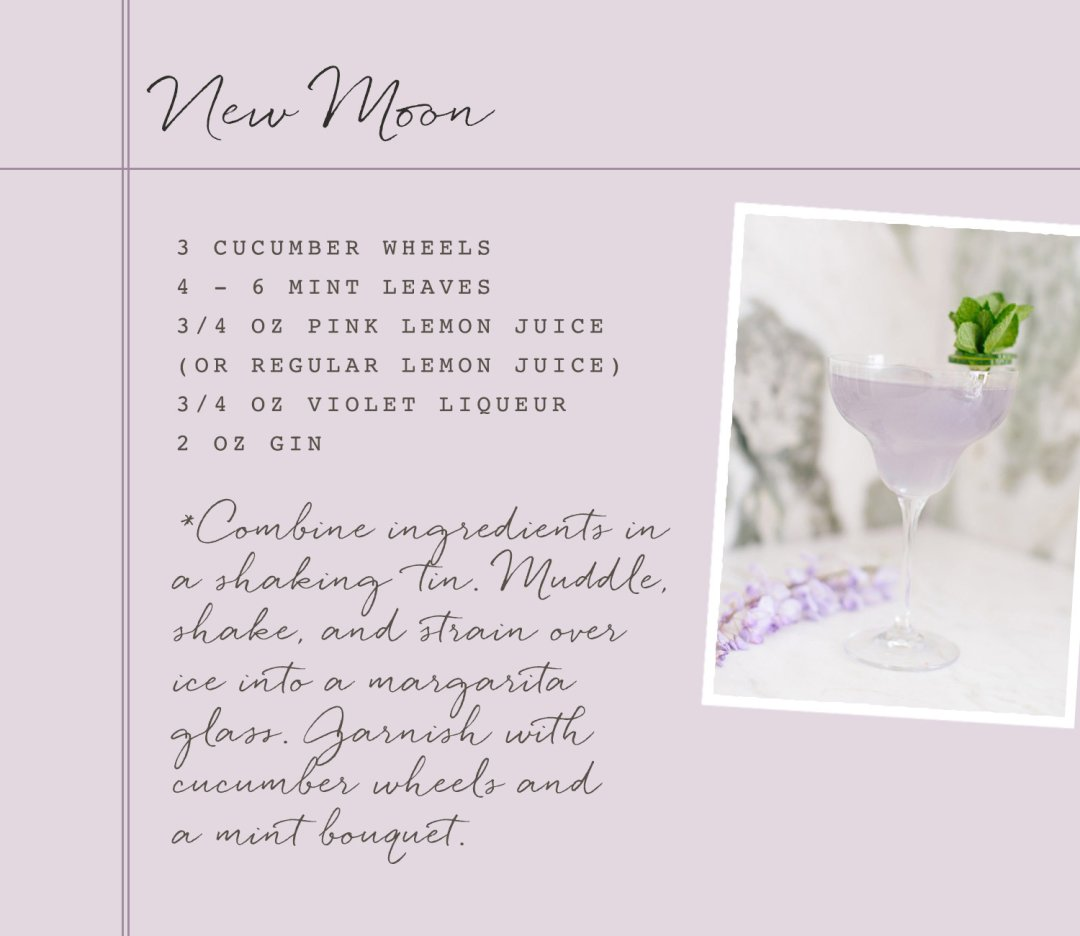 New Moon violet lemon gin cocktail recipe card