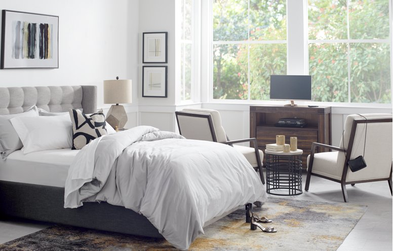 Shop Chatham Pewter Low Platform Storage Bed, Holden Mid Tone Nightstand, Wallace Gray Table Lamp, Holden Mid Tone Media Chest, Brando Beige Fabric Accent Chair, Carlin Metal Nesting Tables, Beda Multicolored 8x10 Area Rug and more