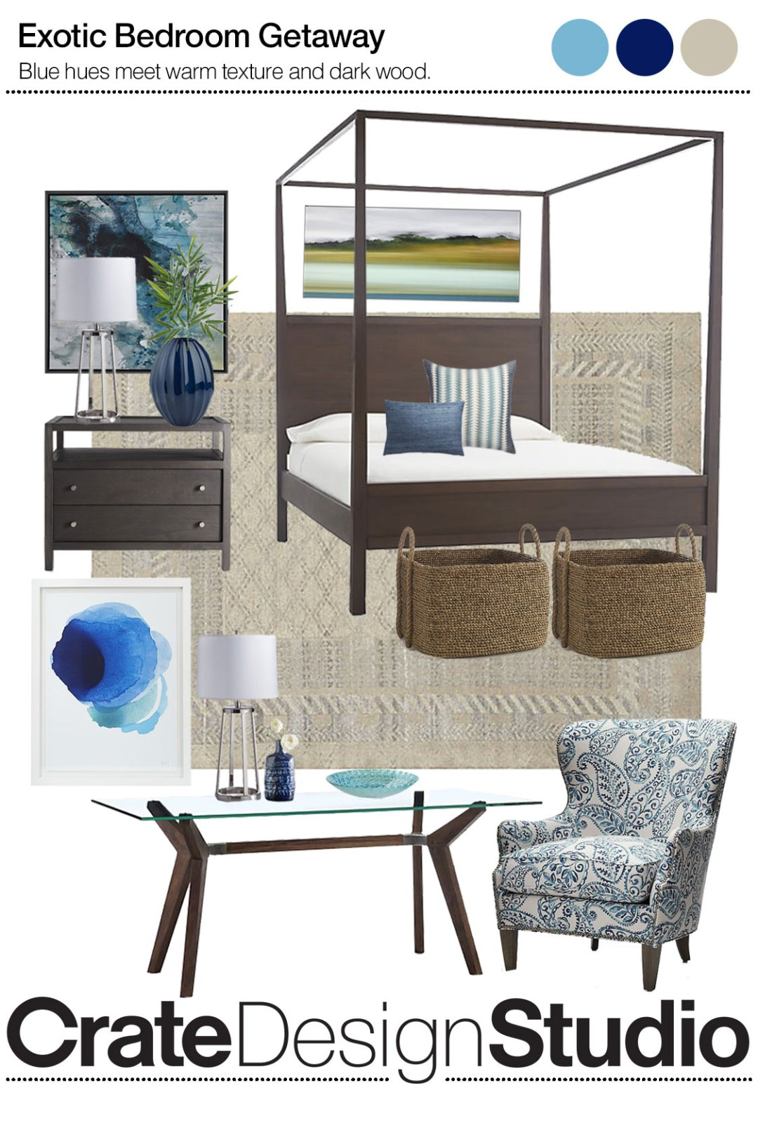 Curated image with keane wenge queen canopy bed brielle nailhead wingback chair strut bourbon