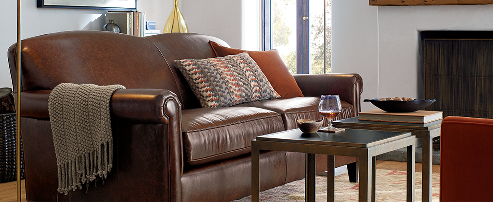 Leather Sofa with Fall Decor