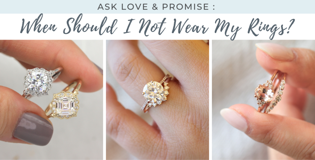 3 images show custom ring combinations in a women's hands
