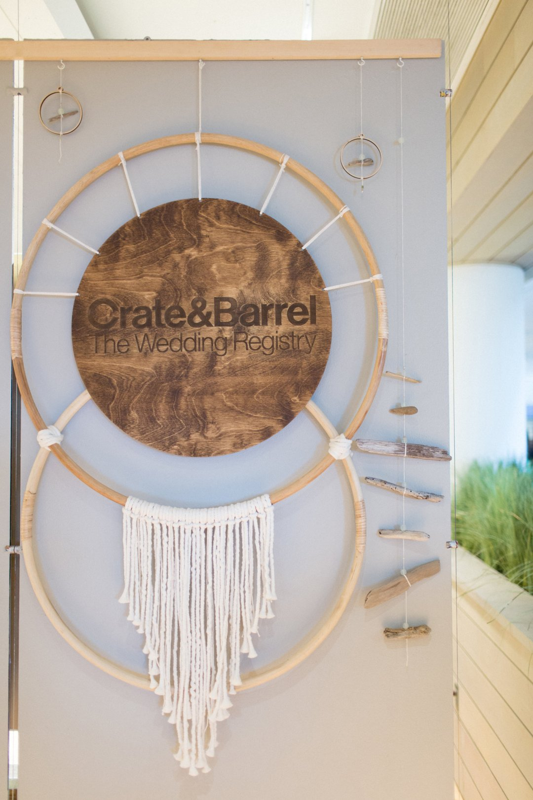 Crate and Barrel sign as a dream catcher