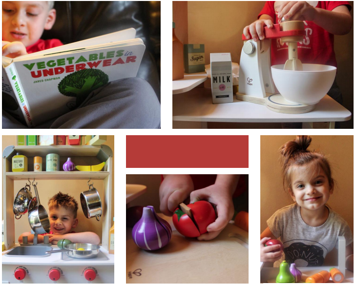 Childrens play kitchen and wooden play fruits and vegetables