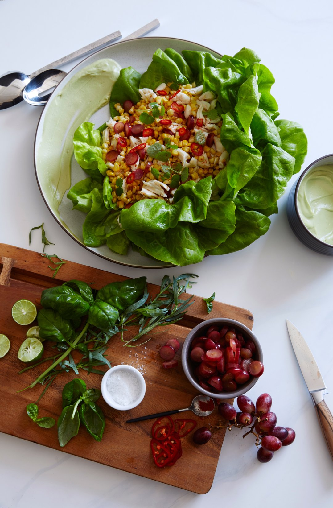 Crab and corn salad in butter lettuce