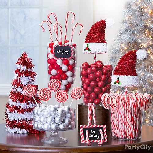 curated image with 3d candy cane tinsel christmas tree 3d tinsel santa hat - Candy Cane Christmas Tree Decorations