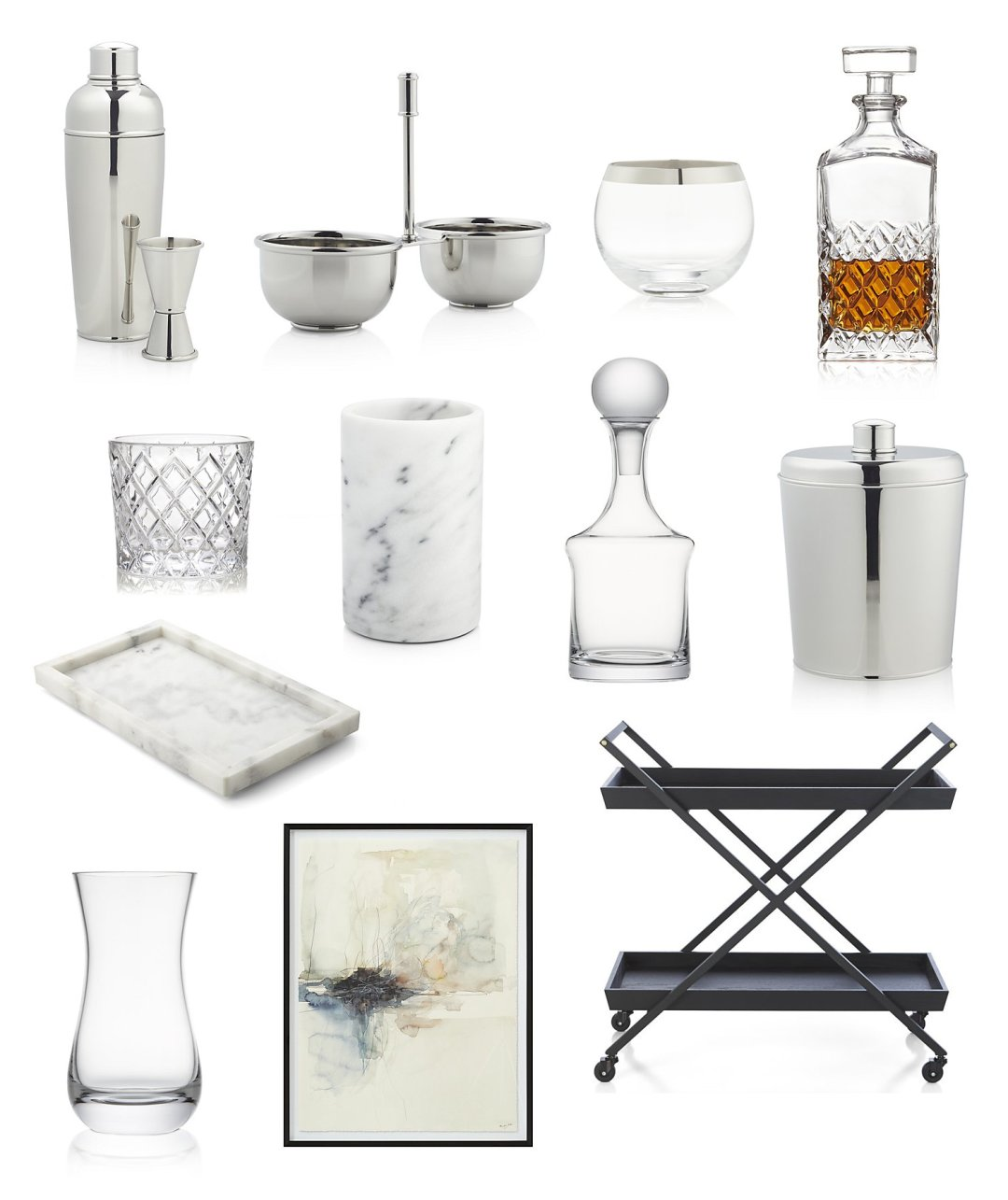 Collage of essential home barcart accessories, glasses and serveware