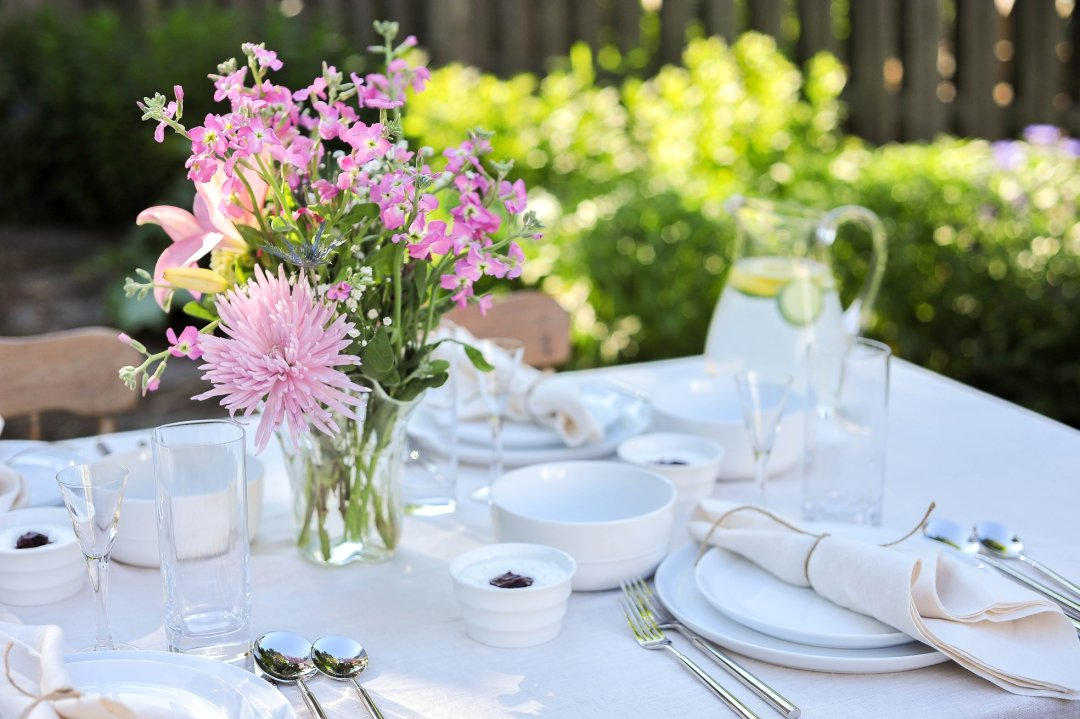 View of placesetting on table outside