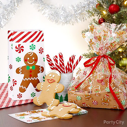 curated image with red candy sticks 25pc gingerbread man favor bag gingerbread christmas treat
