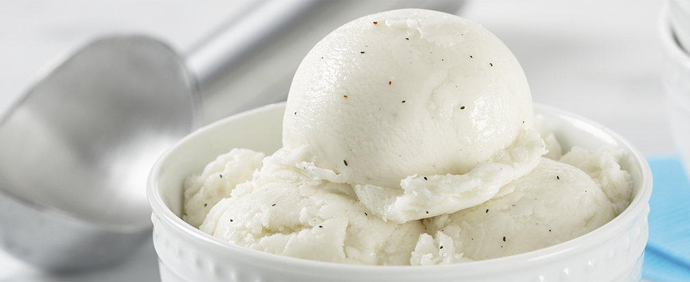 Vanilla bean ice cream with scoop