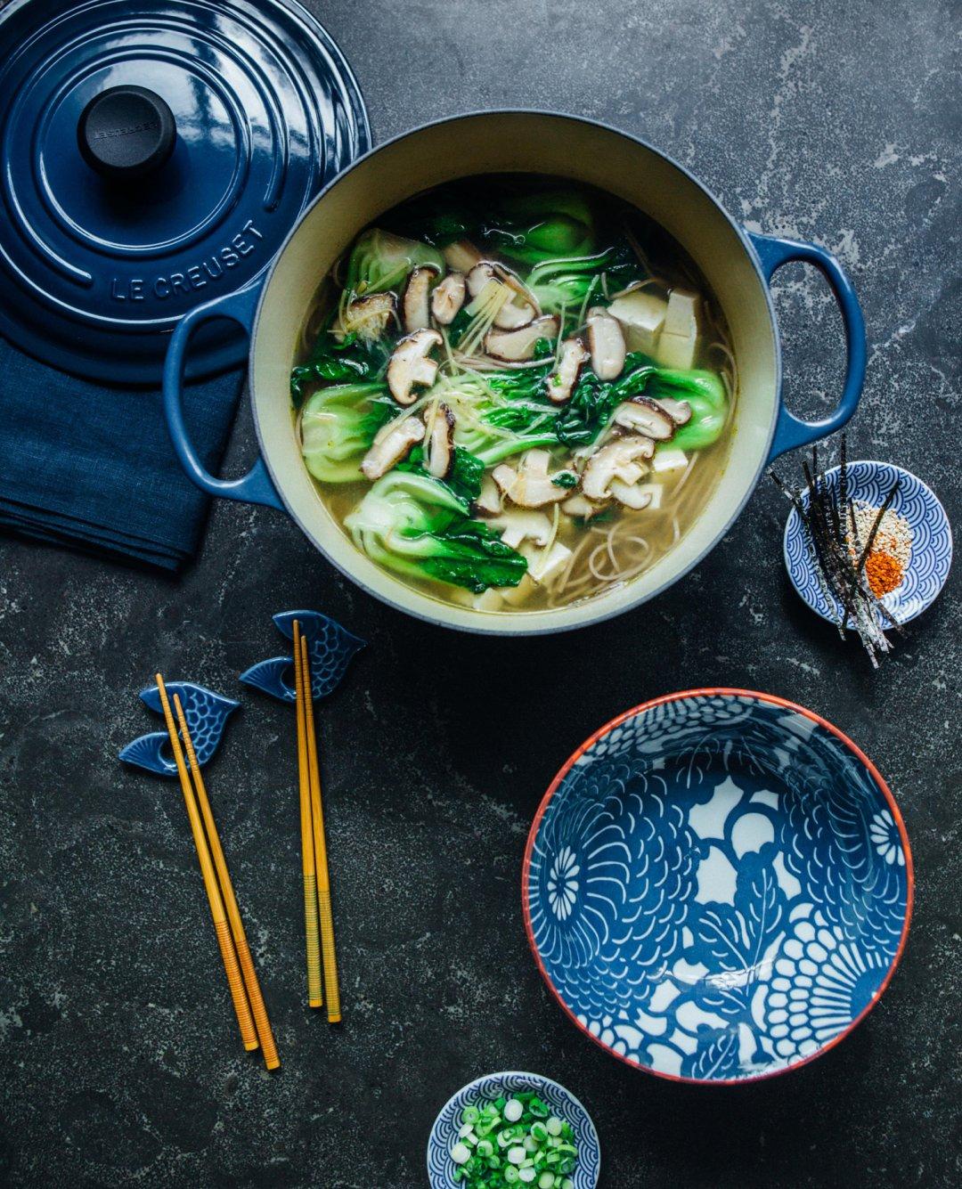Noodle soup in a blue LeCreuset