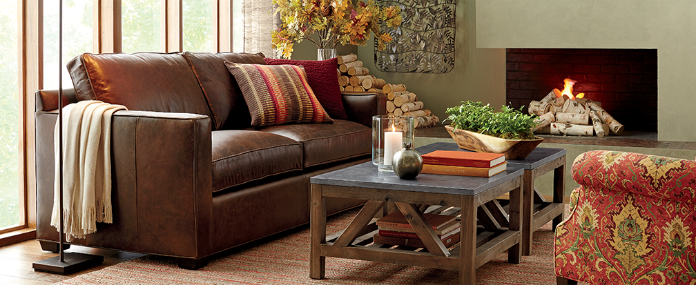 Davis brown leather sofa with rustic coffee tables