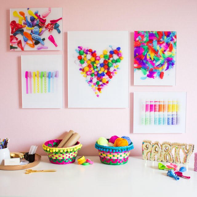 Craft supply wall art! So fun to turn your favorite craft supplies into colorful art!