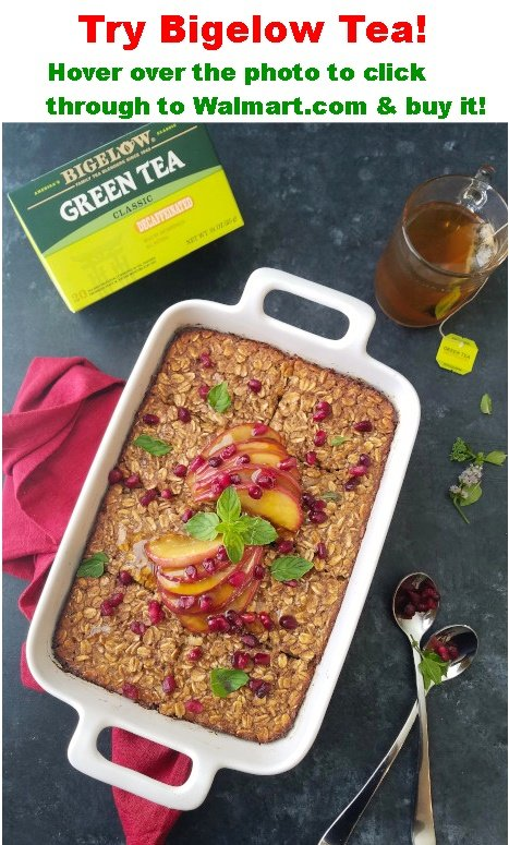 baked oatmeal in a baking dish with a  cup of tea son the side