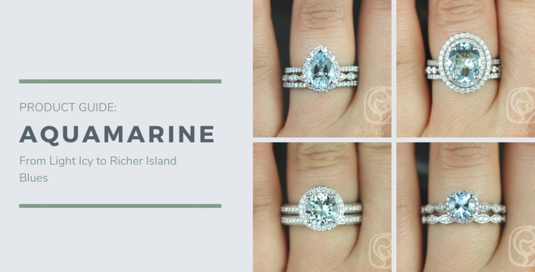 Four Aquamarine Rings on Hands in Varying Shades of Blue