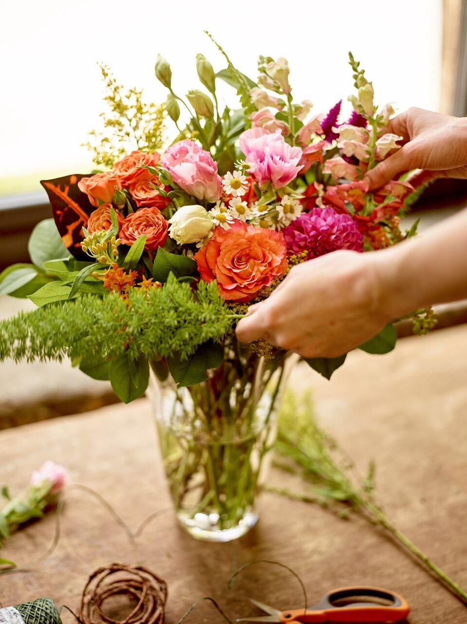 Close up of blooms in flower arrangement