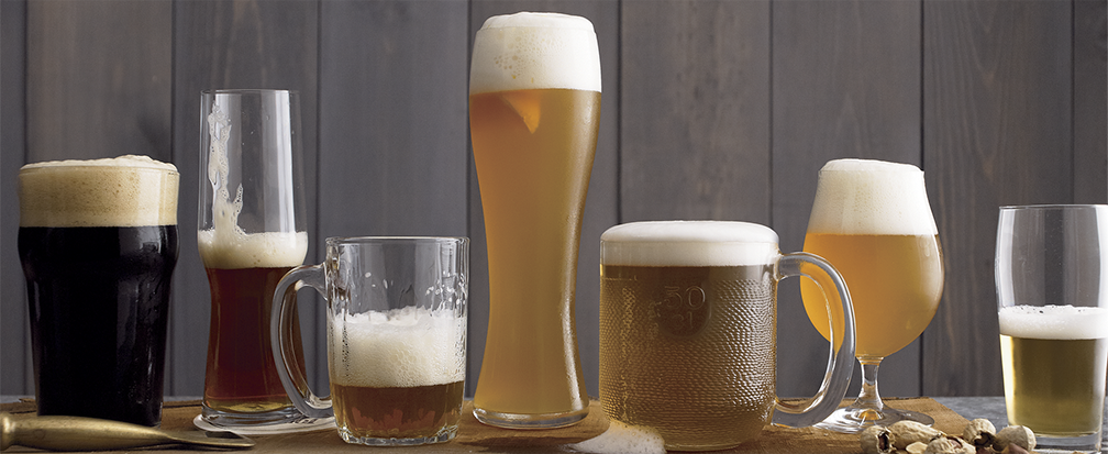 Specialty craft beer glasses and beer mugs