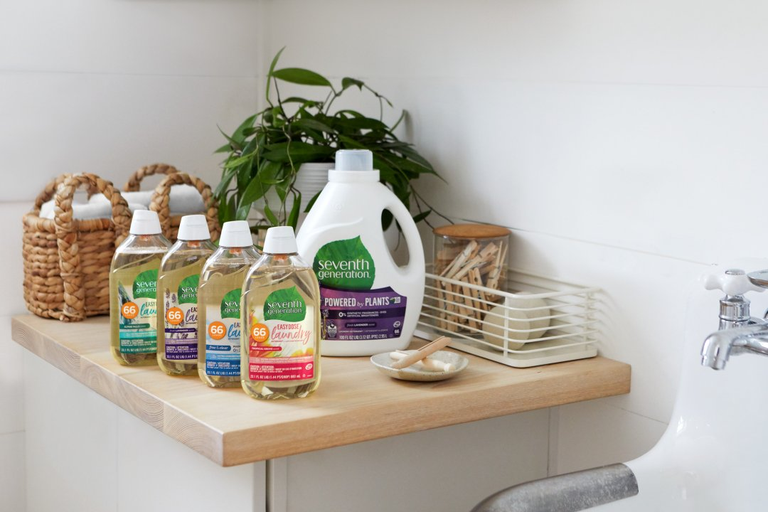EasyDose collection on laundry room counter