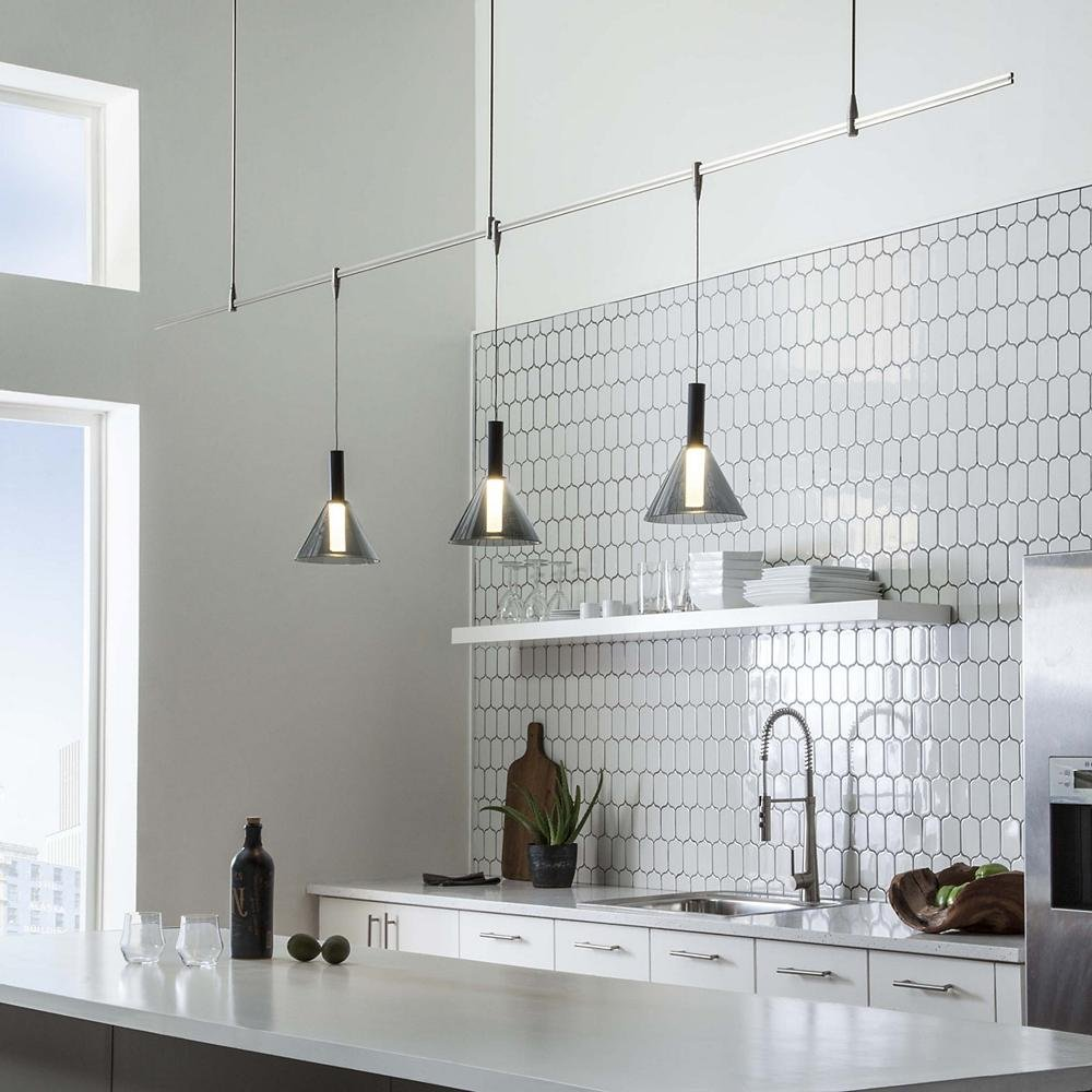 Modern White Kitchen With Island And Pendant Lights: How To Light A Kitchen Island